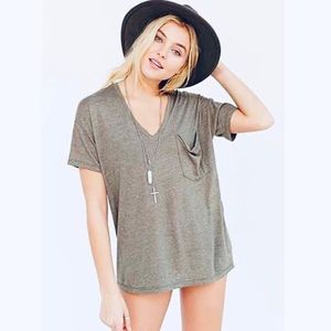 UO | Truly Madly Deeply Grey Slouch Pocket Tee